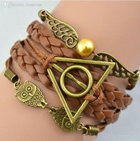Wholesale-Hot Nova Moda Antique Bronze Harry Potter Magia Hallows Bracelet, Harry Potter pulseiras, Owl Asa pulseira atacado