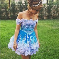 Wholesale Two Colors Summer Dress - Charming Two Colors Homecoming Dresses Off the Shoulder White Lace Appliques Mini Short Prom Dress Tiered Skirt Custom Made Party Gowns