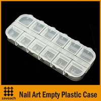 Wholesale Plastic Crystal Gems - Wholesale - Clear Plastic Nail Art Rhinestone Gems Crystal Beads Craft 12 Divided Storage Case Box Container Free Shipping