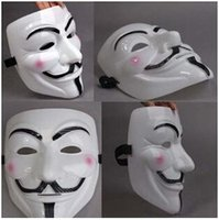 Wholesale Vendetta Mask White - 1000pcs CCA2555 V Mask Masquerade Masks For Vendetta Anonymous Valentine Ball Party Decoration Full Face Halloween Super Scary Party Mask