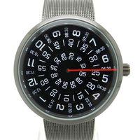 Wholesale Mens Black Watch Band Wholesale - Wholesale-Paidu Black Silver Quartz Metal Mesh Band Wrist Watch Mens Boy Turntable Dial Digital Gift Wristwatches