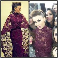 Wholesale Plum Mermaid Dresses - 2016 New Yousef Aljasmi Dresses Evening Wear With Long Wrap High Neck Beading Mermaid Elegant Arabic Plum Prom Party Gowns Vestidos 2015