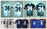 Wholesale Blue Cam - Auburn Tigers 2 Cam Newton Jersey Throwback 34 Bo Jackson Jersey White Blue 6 Jeremy Johnson Blue White NCAA College Football Jersey