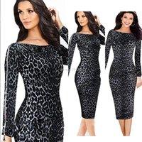 Wholesale Elegant Women Long Sleeve - Fashion Dresses For Women Black Leopard Dress Vestidos De Fiesta Long Sleeve Ladies Elegant Star Love Midi Long Pencil Dresses