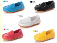 sapatos de borracha para meninas venda por atacado-De alta qualidade de borracha Macia Única Apartamentos Casuais Sapatos de Barco Venda Quente Crianças Sapatos de Crianças PU Sapatilhas De Couro BoysGirls 21-30