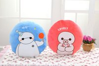 Wholesale Cheap Rags - 33cm open 100*170cm circle baymax pink blue blanket   bolster  quilt cushion best warm gift short plush toy cheap hot sale