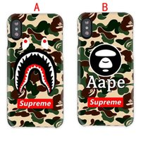 Wholesale Plastic Shark - Luxury brand camouflage monkey shark phone case for iphone X 7 7plus 8 8 plus hard back cover for iphone 6 6S 6 plus