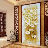Wholesale Continental Painting - 5D Painting new diamond paste diamond lily paintings Continental Stitch entrance corridor decorative Painting Jinzhiyuye financial resources