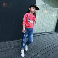 Wholesale Baby Skull Jeans - Girls Jeans The New Autumn 2015 Childrens Jeans Personality Skull Hole In The Long Jeans Baby & Kids Clothing LR04