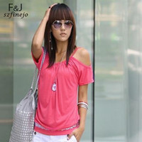 Wholesale Discount Off Shoulder Shirts - Discount 2014 New Arrival Korea Style Fashion Sexy Women T-Shirt Batwing Sleeve Off Shoulder Summer Tops Blouse 12