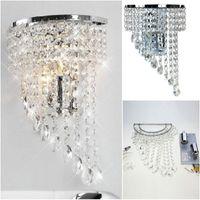 Wholesale K9 Crystal Wall Sconce - crystal Wall lamp K9 chandelier light E14 led bulb lamp living room bedroom bedside Fashion Wall Sconce Hallway Hotels corridor Lamp