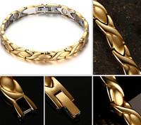 bracelets de santé de qualité achat en gros de-Bijoux de haute qualité de la mode Hot femmes ne se fanent jamais plaqué or 316L en acier inoxydable pierre magnétique de la santé lien Bracelet 8.5 '
