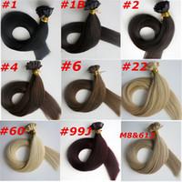 hint saçları 24 inç toptan satış-100g 100Strands Önceden yapıştırılmış Düz uçlu saç uzatma 18 20 22 24inch Braziian Hintli insan saç uzantıları