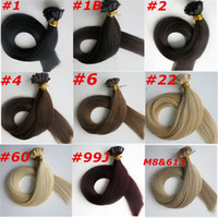 Wholesale Extensions Flat Tip - 100g 100Strands Pre-bonded Flat tip hair extension 18 20 22 24inch Braziian Indian human hair extensions