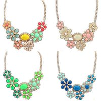 Wholesale Bubble Bib Fashion - Fashion Women Bohemian Flower Bubble Bib Choker Statement Necklace Collar Party Jewelry