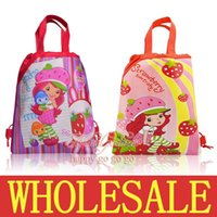 Wholesale Schools Bags Strawberry - 12Pcs Strawberry Shortcake Kids Girls Children Cartoon Drawstring Backpack School Bags Party Gift Bags,34*27CM,Mixed 2 Models