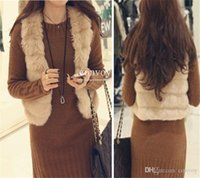 Wholesale Rabbit Fur Top Coat - New Arrival Womens Faux Rabbit Fur Vest Short Waistcoat Ladies Soft Top Jacket Faux Fur Vest Shaggy Vest Womens Coat Coletes Femininos WT47
