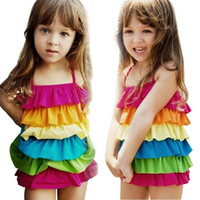 Wholesale Girls Rainbow Swimwear - rainbow swimsuit girl swimsuit swimwear kids girl one piece swimsuit bathing suit one piece swimsuit Cake layered Swimsuit free shipping