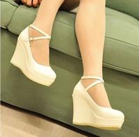 Wholesale Sexy Beige Platform Heels - Wholesale-Summer PU new arrival 2015 women's shoes fashion sexy straw braid button strap platform wedges female 10cm high heel sandals