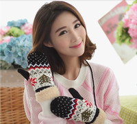 Wholesale Fur Wool Gloves For Christmas Mittens Women s Winter Cashmere Warm Gloves Ladies Knitted Glove Full Finger