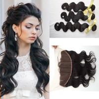 saç moda ürünleri toptan satış-G-EASY saç ürünleri moda brezilyalı bakire saç vücut dalga dantel frontal kapatma ile 13x4 üst frontal ile 3 parça demetleri fırsatlar