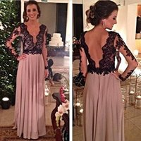 Wholesale Long Black Backless Chiffon Dress - Elegant Prom Dresses with Black Lace Long Sleeves Backless Sheer V Neck Floor Length Chiffon 2016 Cheap Party Evening Dresses Formal Gowns