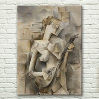 Wholesale Classical Guitars - 4076 hand-painted wall art Copy Picasso classical guitar girl abstract decor painting Home decoration canvas Oil Painting