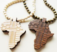 Wholesale Good Wood Africa Pendant - Wholesale-Support wholesale Hip hop rock big Africa map pendant long chain men necklaces beads good wood jewelry necklace beads necklace