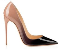 Wholesale plaid pumps - Classic Brand Women Pumps Pointed Toes Red Bottom Dress Shoes,Designers Black Patent Leather Wedding Party Shoes 12cm 10cm 8cm