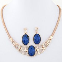 Wholesale Girls Clothes Necklace - 2015 Fashion Gold and Silver Plated Necklace Earring Jewelry Sets Women Clothes Accessories High Quality