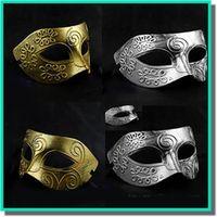 máscaras de mascarada de guerrero romano al por mayor-La máscara de mascarada de los antiguos guerreros griegos y romanos de los hombres Color dorado y plateado opcional