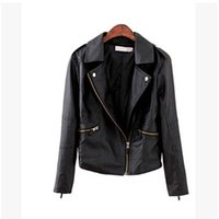 Wholesale Leather Motorcycle Suits - Wholesale-wholesale Jacket Coat Women Coat Jacket pu leather oblique zipper Outerwear Coat Jacket Tops motorcycle Jackets Suit DL1269