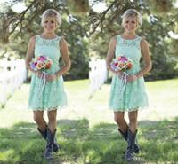 nane yeşil elbise junior toptan satış-2018 Ülke Stil Nane Yeşil Gelinlik Modelleri Kısa Dantel Örgün Elbise Genç Ve Yetişkin Gelinlik Diz Boyu Için Düğün Elbiseleri