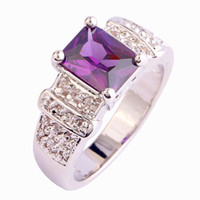 Wholesale Emerald Cut Amethyst Ring - Wholesale Exquisite Art Deco Emerald Cut Purple Amethyst 925 Silver Ring Size 7 8 9 10 Women Jewelry Free Shipping