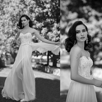 Wholesale China Made Dresses For Sale - 2016 Beach Wedding Dresses A Line Sweetheart Sides Splits Sheer Skirt Chiffon Sposa Bridal Gowns China Cheap Online For Sale