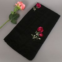 Wholesale Muslim Pashmina - Women rose embroidery shawls long muslim cotton hijab women cape ladies head wrap scarves scarf 15 colours 175*90cm