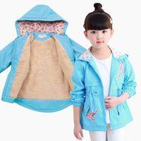 ingrosso giacca coreana rosa-Blue Pink Girls Fleece Ricamo Tench e giacche 2018 Autunno inverno Korean Hooded Coat Thick Cotton Warm Kids Cappotto invernale per ragazze