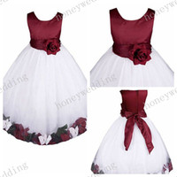 Wholesale Dress Trimmed Flowers - hotest Flower Girl Dress round Neck A-Line Princess dress Handmade petal Bowknot trim Girls Ball Gown Junior Bridesmaid Dresses(12 colors)