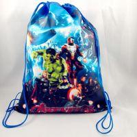 Wholesale Avengers Backpack Kids - Free shipping drawstring bags The avengers a Cartoon backpack handbags children school bags kids' shopping bags present Shopping Bag 050016