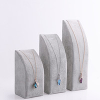Wholesale Chain Velvet Display - Free Shipping Black Gray Velvet Pendant Necklace Chain Display Stand Bracelet Holder 3 pc set Jewelry Packaging Displays
