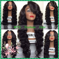 Wholesale Virgin Human Hair Half Wigs - Middle Part Human Hair Lace Front Wig With Bangs Virgin Brazilian Glueless Full Lace Wigs Bleached Knots Loose Body Wave