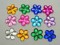 Wholesale Diy Flatback Embellishment - 200 Mixed Color Acrylic Flatback Flower Rhinestone Gem 15mm DIY Embellishments