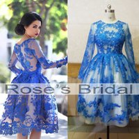 Discount discount-discount - Real Picture Prom Dresses Short Crew Neckline Lace Appliques Hunter Blue Knee Length Cocktail Dresses Homecoming Dress Said Mhamad