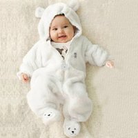 Wholesale Girls Footies - 2017 fleece baby animal Jumpsuits overalls bear style children's overalls newborns Rompers Funny Clothes cute Clothing for baby footies