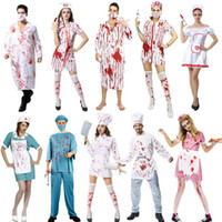 2018 Nuovo Scary Doctor infermiera sanguinosa Costume Adulti Uomini Donne Cosplay Uniforme di Halloween Carnevale Fancy Dress Party Decor
