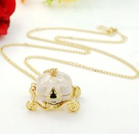 Wholesale Cinderella Pumpkin Carriage Pendant - Cinderella Fairy Tale Pendant Magic Pumpkin Carriage Necklace Alloy Gold Chain Necklaces Long Sweater Pendants Women Lady Jewelry