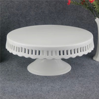 Wholesale Dot Cake Skirt - 10inch White Round Porcelain Skirted Cake Stand, With Polka Dot Ribbon