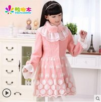 Wholesale Large Girls Winter Coats - Wholesale-2015 winter new large European and American children's clothing girls girls coat fur collar woolen coat princess coat