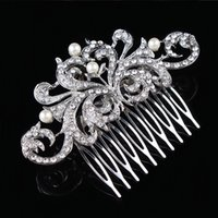 Wholesale Diamante Hair Combs - Vintage Fashion Clear Diamante Flower Hair Comb Best Gift Hair Decoration Jewelry H004 Pearl Hair Comb