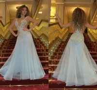 Wholesale Runway Stage - Queen of Stage Myriam Fares Sexy Mermaid Evening Dresses Sheer Jewel Beading Lace Appliques Mesh Zipper Back Light Sky Blue Party Prom Gowns